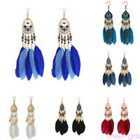 Red Pink Big Summer Long Boho Hippie Ethnic Feather Dangle Drop Earrings HLE28