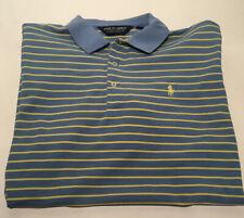 MENS Size L Polo Ralph Lauren Golf Shirt Blue Yellow  Striped