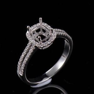 Cushion Cut 4x5 mm Natural Diamond Semi Mount Ring Setting Solid 14K White Gold