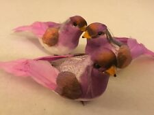 SET OF 3! LAVENDER BIRDS FOR FLORAL CRAFTS WREATHS!  4 INCHES LONG