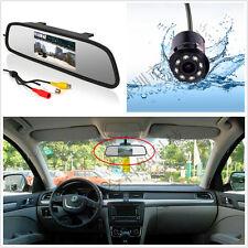 Car SUV Reverse 8LED IR Night Vision HD Camera +Rear View Mirror Display Monitor