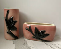 Vintage Royal Copley 1950s Pink Black Flower Vase Planter Cottagecore MCM Retro