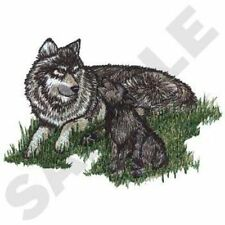 "Wolf & Cubs, Wolves, Embroidered Patch 6.9 ""x 4.9"""