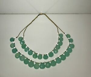 18K Gold  Chalcedony and Aquamarine Necklace