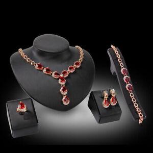Fashion Vintage Wedding Set Necklace Bracelet Earrings Ring Studs Red Gem