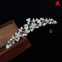 Princess Wedding Bridal Pearl Rhinestone Crystal Crown Hair Band Tiara Head U7Y7
