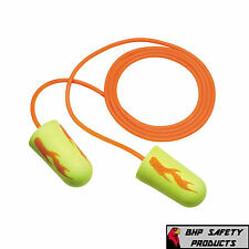 3M EAR YELLOW NEON BLASTS DISPOSABLE FOAM EAR PLUGS 311-1252 WITH CORD (50 PAIR)