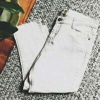 Cotton On Colour Jeans Cream White Size 10 Cropped Raw Hem Skinny Leg High Rise