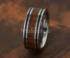 Tungsten Double Line Inlaid Koa Wood Ring 8mm