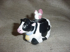 Midwest Of Cannon Falls Black White Cow Holstein Sugar Bowl With Lid Hen New