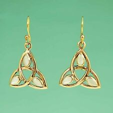 Large Gold Celtic Trinity Triquetra Earrings on Hooks Set With Mother of Pearl