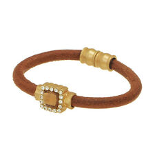 """7.25"""" Brown Rhinestone Faux Leather Gold Tone Jewelry Magnetic Clasp Bracelet"""