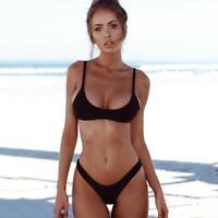 bikini nero tinta unita Costume da bagno a fascia con coppe slip brasiliana sexy