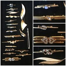 JOB LOT VINTAGE Art Deco Stile Diamante & Perla BAR Spille x 20 (Napier)