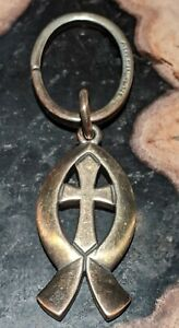 Retired James Avery Ichthus Fish And Cross Keychain Sterling Silver