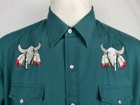 Plains Western Shirt Mens XL Green Pearl Snap Embroidered Long Sleeve Cowboy