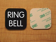 Engraved 3x3 RING BELL Plastic Tag Sign Plate   Black Doorbell Plate Plaque