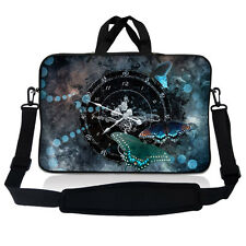 "15.6"" Laptop Sleeve Bag Case w Shoulder Strap HP Dell Asus Acer Clock Butterfly"