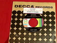 PATSY CLINE~ ANYTIME~ RARE TITLE STRIP~ IN CARE OF THE BLUES~ DECCA ~ TEEN 45