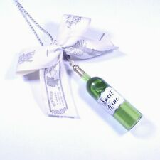Gift for her handmade necklace fimo polymer clay wine bottle with bow