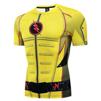 Mens Gym Superhero the Flash Costume Cosplay Compression Workout Fitness T-shirt