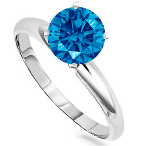0.75 Carats Blue Diamond Ring in 14k Gold Anniversary/Wedding/Engagement