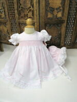 NWT Will'beth Pink Smocked 3pc Lace & Pearls Dress Newborn Baby Girls Size 0