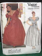 VTG Bellville Sassoon Ballgown Pattern Vogue 1152 sz 8 1987 Wedding Dress