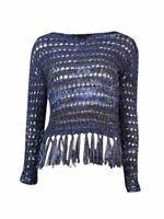 INC International Concepts Women's Fringed Tape Sweater PL, Deep Twilight Marl