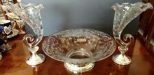 CAMBRIDGE Center Bowl & Two Cornucopia Fluted Vases on Sterling Silver