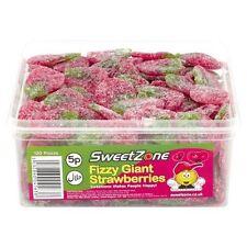 SweetZone 100% Halal Jelly Sweets - Fizzy Giant Strawberries Tub of 120pcs HMC