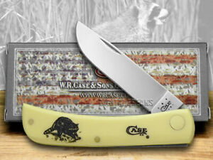 Case xx Sod Buster Jr. Knife Raccoon Yellow Delrin Stainless Pocket Knives