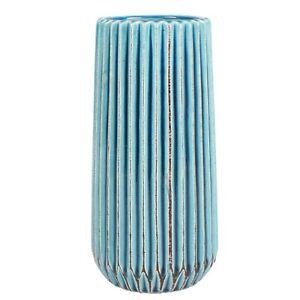 Taj Turquoise Ceramic Bottle Vase With Brushed Design 24.5x10.3cm