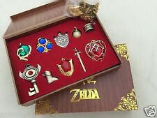 The Legend of Zelda Hylian Shield Sword Keychain Necklace 10pcs Collection Set