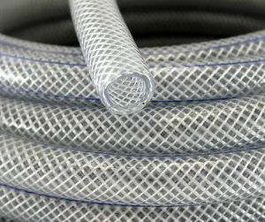 19mm Food Safe Clear Braided PVC Hose Pipe Tube Reinforced  Water Liquid Oil
