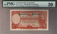 Australia Pick#21 R-11.(1936) 10 Shillings Riddle/Sheehan Geo V PMG 30 Very Fine