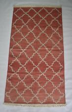 Modern Geometric Orange Cotton Rug 3X5.5 Feet Handmade Dhurrie