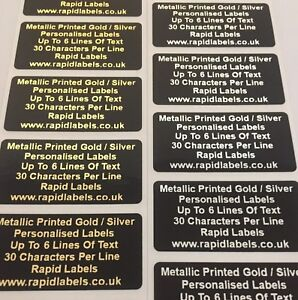 Personalised Black Synthetic Gloss Labels Waterproof   50mm x 25mm