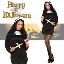 Adult Women's Sexy Nun Costume Halloween Fancy Dress Hen Stag Party Outfit