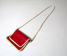 petit sac à main en skaï rouge et blanc Vintage