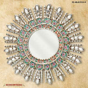 "Turquoise Sunburst Mirror 17.7""- Round Wall Decorate - Peruvian Sunburst Mirrors"