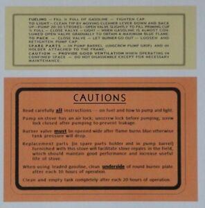 Etiquettes réchaud Coleman M 1942 et Coleman 520 - WW2 (REPRODUCTION)