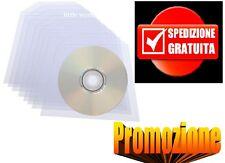 100 BUSTINE BUSTE CUSTODIE CON ALETTA PATTINA PVC PER CD DVD VUOTE TRASPARENTI