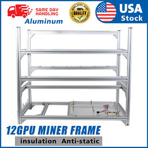 US 12GPU Mining Rig Frame Only Equipment Aluminum Stackable For Bitcoin Ethereum