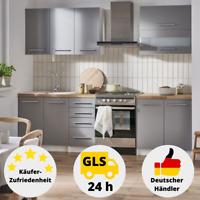 Küchenzeile Küche Grau Hochglanz Komplett Set Küchenblock Einbauküche 2 m Küche