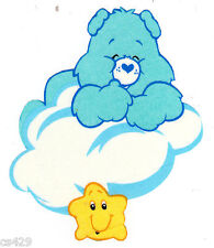 """5"""" CARE BEARS ON A CLOUD BEDTIME BEAR GLOW IN THE DARK FABRIC APPLIQUE IRON ON"""