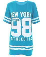 Ladies USA American Varsity Baseball Newyork98 Oversize Baggy T Shirt Top Dress UK 22-24 Turquise
