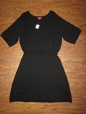 """ELLE Black Shiny 1/2 SleeveCotton Blend Sweater Dress SZ Women 1X """"NWT"""""""