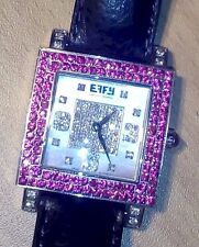 Effy pink saphire and diamond stainless steel ladies watch with leather band