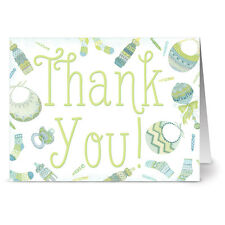 24 Note Cards - Baby Menagerie Thank You Green - Green Envs